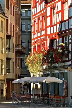 Timber framed houses in the old city of St. Gallen, Switzerland
