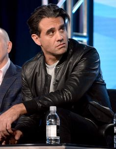 Star of HBO's upcoming show Vinyl, Bobby Cannavale, sports a John Varvatos Lambskin Leather Bomber Jacket