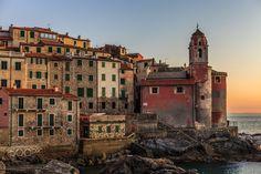 village of Tellaro - Tellaro, Lerici. La Spezia, Liguria, Italy. Sunset landscape.