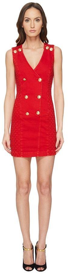 Pierre Balmain Embellished Button Bodycon Dress