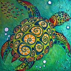 "Sea Turtle • 36' X 36"" • Oil on Canvas • Jill English Art"