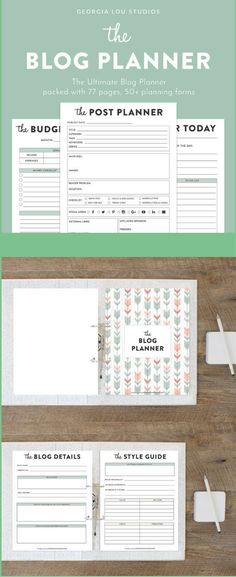 Blog Planner, Printable planner, Blog Organizer, Blogging Planner, pdf, Letter sized, 77 pages, blogger planner printable #affiliate #etsy