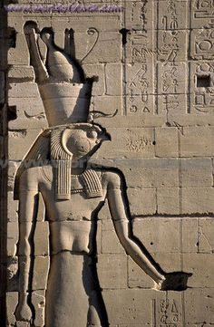 The Ancient Egyptian God Horus Is Depicted On The Exterior Walls Of The Temple Of Isis At Philae, Egypt.,