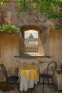 Enjoy a romantic view of St. Peter's basilica from the cafe at Castel Sant' Angelo. A perfect stop during your honeymoon in Rome, Italy . San Pietro by LivItaly The Places Youll Go, Places To Visit, Beautiful World, Beautiful Places, Visit Rome, Voyage Rome, Travel Photographie, Window View, Northern Italy