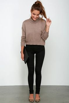 Sure As the Wind Blows Brown Crop Sweater at Lulus.com!
