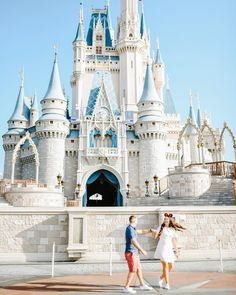 Disney World Engagement. Dancing in front of Cinderella Castle. Walt Disney World Engagement Photos. Magic Kingdom Engagement Pictures by Beth Joy Photography.