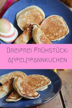 Baby Frühstücksideen: Pfannkuchen mit Apfel ohne Zucker. Perfekt ab dem 8. Monat geeignet - kleine Pfannkuchen nur mit Apfel gesüßt. Ein toller Pfannkuchen Grundteig.