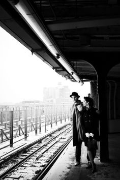 Could have a vintage train station quartet photo, or at a bus stop