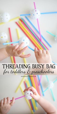 Simple Threading Busy Bag for Toddlers & Preschoolers with Straws and holey plastic Golf-Balls! www.acraftyliving.com