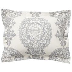Pottery Barn Lucianna Medallion Duvet Cover ($79) ❤ liked on Polyvore featuring home, bed & bath, bedding, duvet covers, grey, gray damask bedding, damask bedding, pottery barn pillow shams, medallion bedding and grey pillow shams