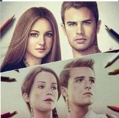 Divergent Fan Art / Hunger Games / Catching Fire / FANDOMS UNITE / Katniss / Peeta / Tris / Four