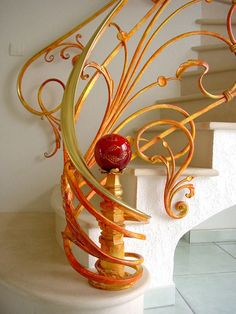 Art Nouveau-style Iron Railing by Ferronerie Betemps, Artist Blacksmith Art And Architecture, Architecture Details, Design Art Nouveau, Jugendstil Design, Interior And Exterior, Interior Design, Take The Stairs, Stair Storage, Stairways