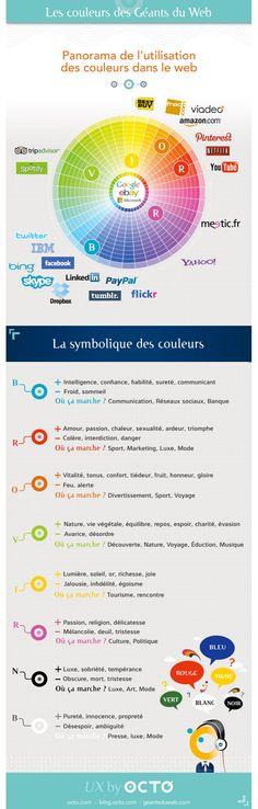 Les couleurs des géants du web  : Dans le webdesign, la couleur n'a pas seulement une influence sur l'esthétique d'un site. Elle participe pleinement au design et à l'expérience utilisateur dans la mesure où elle peut influencer sa lisibilité et sa compréhension. Notre organisme est sensible aux couleurs qui l'entourent.