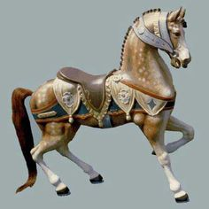 "Dentzel  Stander, 3/4 size second row ""Chariot"" horse. Heraldic trappings."