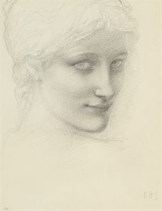 Study for a head of a mermaid in 'The Depths of the Sea' , Edward Burne-Jones. (1833 - 1898)