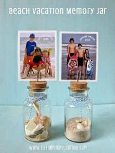 Easy sand craft. Display sand, photos, and mementos from your Beach Vacation in cute bottles or jars!