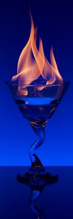 blue flaming drink <3