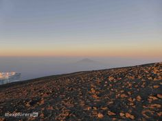 View of mount Meru from the summit of Mount Kilimanjaro in Tanzania