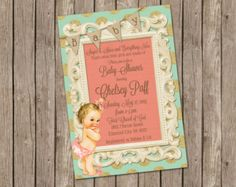 Burlap and Lace Vintage Baby Girl Shower by MissBlissInvitations