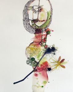 "Elizabeth Terhune ""ofidre""   2009 Bistre, ink and watercolor on paper 22-1/2"" h x 18"" w"