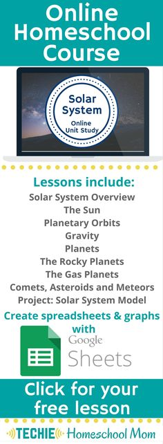 Try the Solar System Online Unit Study. This online homeschool course integrates multiple subjects for multiple ages of students. Access websites and videos and complete digital projects. With Online Unit Studies' easy-to-use E-course format, no additional books or downloads are needed. Just gather supplies for hands-on projects and register for online tools. Click for your free lesson.