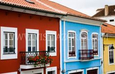 Traditional houses from Angra do Heroísmo are painted many colors these are located in the center of Angra do Heroísmo, Terceira Island, Azores, Portugal