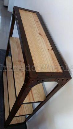 Mueble Estanteria De Hierro Y Madera - Oxido Real - $ 3.999,00 en Mercado Libre