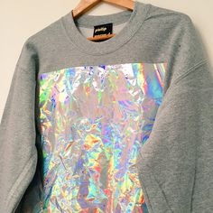 Crumpled Holographic Panel Sweatshirt  Grey by PHILIPNORMAL