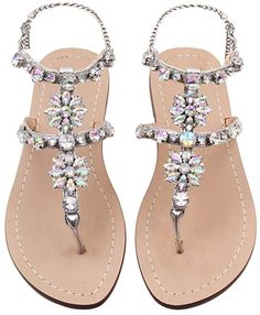 f26f53b4815 Women s Flat Sandals Crystal with Rhinestone Beaded Bohemian Dress Flip-Flop  Gladiator Shoes Size 9