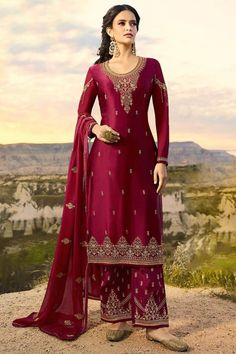 This Raspberry Red Satin Georgette Trouser Suit Which will make you absolutely astoundingly gorgeous and that will be least interesting thing about you. Completed with Satin Georgette Trouser in Raspberry Red Color with matching Georgette Dupatta. Trouser has Resham, Zari and Stone work. Dupatta designed with Resham, Zari and Stone Work.