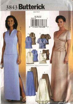 Butterick Pattern B5419 Ms LIFESTYLE WARDROBE Mix//Match Formal Tops//Skirts//Sash