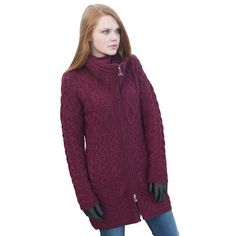 This Ladies Irish Merino High Collar Zipper Aran Sweater Coat by Westend Knitwear is a must have for any wardrobe. The Irish aran sweater shows off an array of traditional aran stitches creating a beautifully designed garment. Promising outstanding quality, stunning design and great comfort and...  More details at https://jackets-lovers.bestselleroutlets.com/ladies-coats-jackets-vests/wool-pea-coats/product-review-for-100-irish-merino-wool-double-collar-aran-knit-coat-by-we
