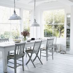 Dining room design ideas, whatever the space and budget you have to play with. Find inspiration for your dining room design with these looks and styles All White Room, White Rooms, Modern Conservatory, Conservatory Extension, Glass Conservatory, Interior Design Blogs, Room Interior, White Cottage, Coastal Cottage