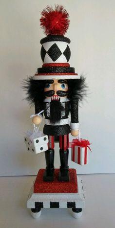 """New Kurt Adler 13"""" Hollywood Nutcracker Red White Black Presents Christmas"""