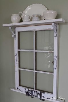 This site has many upcycling ideas for the home. I like the idea of adding a shelf across the top of an old window frame. Idea for Pilgrim Firs window frame? Window Frame Decor, Old Window Frames, Window Art, Windows Decor, Porch Windows, Decorating Old Windows, Old Window Ideas, Wooden Windows, Rustic Window Frame