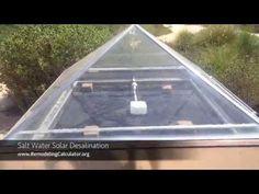 Solar Salt Water Desalination – How to Turn Sea Water Into Fresh Water using ZERO Energy Salt And Water, Fresh Water, Solar Still, Solar Water, Water Wise, Waterworks, Green Cleaning, Solar Energy, Drinking Water