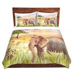Duvet Covers and Shams from DiaNoche Designs | Catherine Holcombe - Ellie Elephant | Elephant Nature | Gray Green Tan Purple