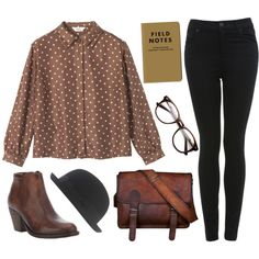 Brown by hanaglatison on Polyvore featuring Toast, Miss Selfridge, Ksubi, Jigsaw, ankle boots, black, blouse, shirt, outfit and hat