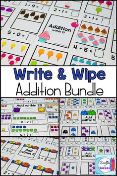 Looking for fun first grade math centers? Check out these addition to 20 write and wipe printables! Just print and laminate these write and wipe addition cards and you can use them to practice addition fact fluency throughout the year. grade math a Kindergarten Math Games, Math Activities, Math Worksheets, Math Resources, 1st Grade Math, Grade 2, Math Skills, Math Lessons, Student Drawing