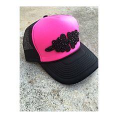 Neon pink trucker hat with beaded embellishment Custom Made Hats, Embellishments, Baseball Hats, Neon, Pink, Etsy, Fashion, Moda, Ornaments