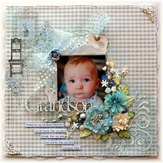 Shabby Layout of my beautiful grandson, using FabScraps Shabbylicious paper collection for The Scrapbook Store. Scrapbook Page Layouts, Scrapbook Cards, Scrapbooking Ideas, Book Layouts, Photo Layouts, Baby Boy Scrapbook, Vintage Scrapbook, Kids Pages, Wedding Cards