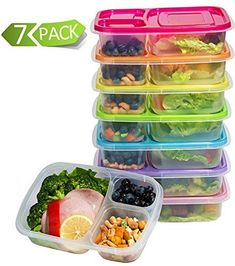 Meal Prep 3-Compartment Lunch Boxes Food Storage Containers with Lids