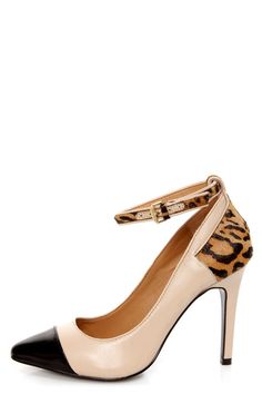 Kelsi Dagger Eryn Blush, Black and Leopard Cap-Toe Pointed Pumps - $139.00