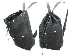 black denim backpack repurposed jean jacket big bucket drawstring bag vintage 90s grunge hipster backpack upcycled recycled laptop sleeve by UpcycledDenimShop on Etsy https://www.etsy.com/listing/399691193/black-denim-backpack-repurposed-jean