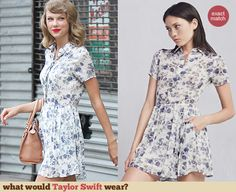 Taylor Swift's blue and white floral shirtdress. Outfit Details: http://wwtaylorw.com/3100