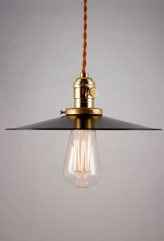 "Rustic Black Enameled pendant lamp, light fixture with cloth covered cord ""Hillsboro"""