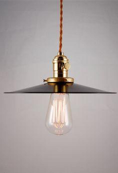 "Rustic Black Enameled pendant lamp, light fixture with cloth covered cord ""Hillsboro"". $175.00, via Etsy."