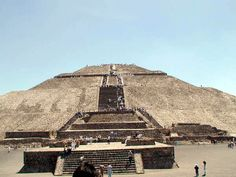 Pyramid of the Sun - Teotihuacan, Mexico.  Largest pyramid at this site.  I loved this place.  I've always loved archaeological sites.  My only regret is that I didn't get to climb the top of it.  Unfortunately, Montezuma wouldn't allow it...if you know what I mean.