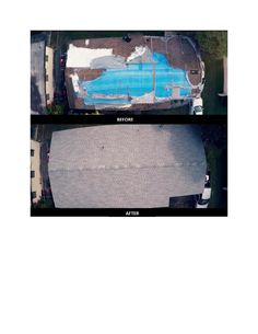 Before and after from above of the Carter's home