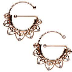 Clear Gem Rose Gold PVD Filigree Heart Universal Nipple Ring Set